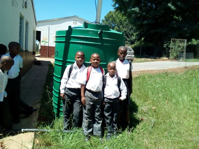 South African Water Explorers with their new rainwater harvesting system